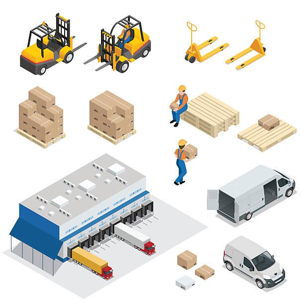 warehouse-ausstattung - frachtpaletten stock-grafiken, -clipart, -cartoons und -symbole