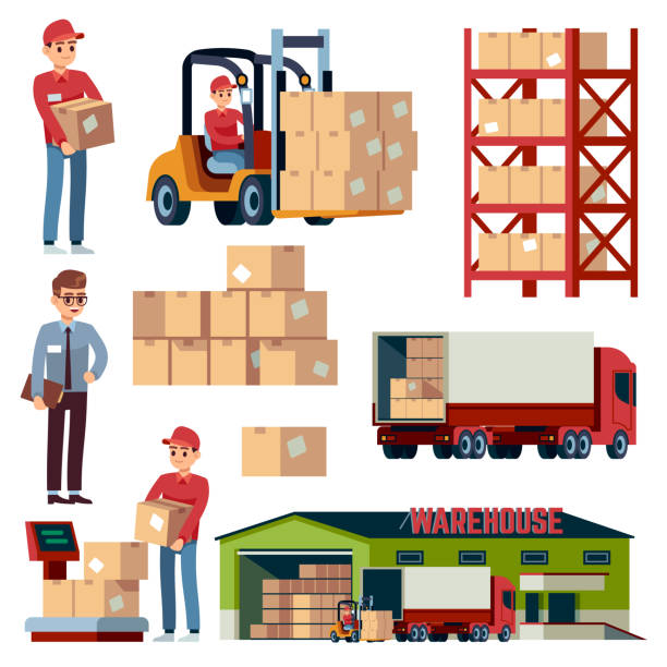stockillustraties, clipart, cartoons en iconen met platte elementen van het magazijn. logistiek transport en heftruck, levering vrachtwagen. loader met dozen geïsoleerde vector cartoon set - chauffeur beroep