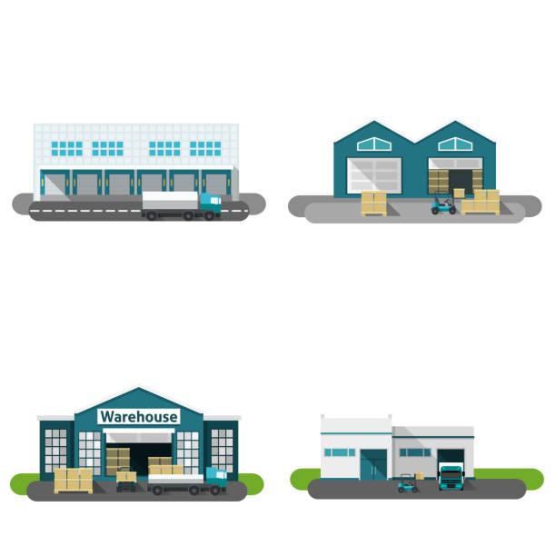 ilustrações de stock, clip art, desenhos animados e ícones de warehouse flat - warehouse