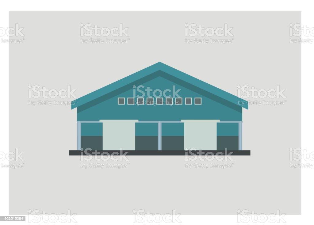 warehouse front view, simple illustration vector art illustration