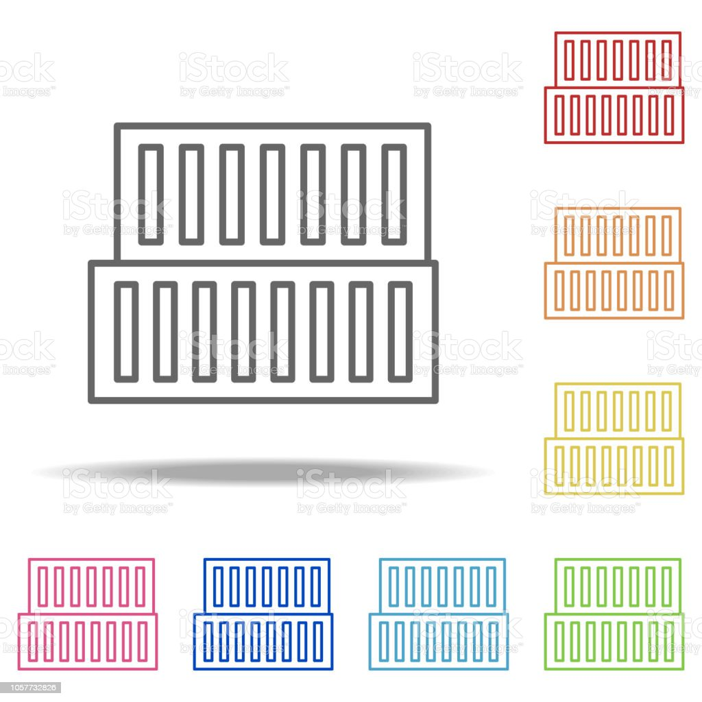 Warehouse Icon Elements Of Global Logistics In Multi Color Style