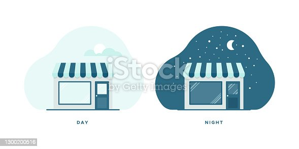 Warehouse icon icon set. Day and night. Vector illustration, flat design