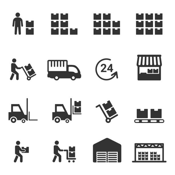 warehouse icon vector - warehouse stock illustrations