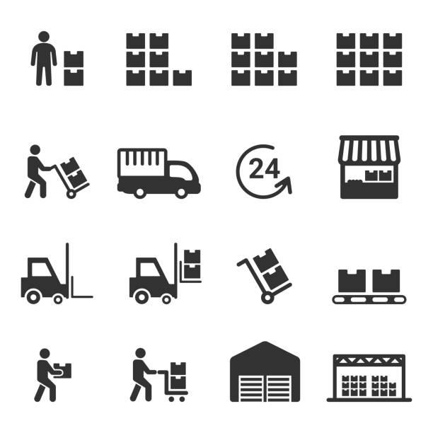 stockillustraties, clipart, cartoons en iconen met magazijn pictogram vector - opslagruimte