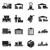 Warehouse Icons. Black Flat Design. Vector Illustration.