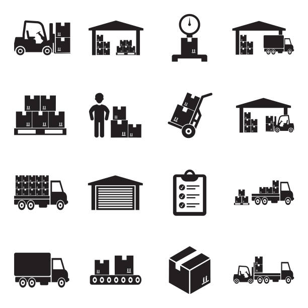 warehouse icons. black flat design. vector illustration. - warehouse stock illustrations
