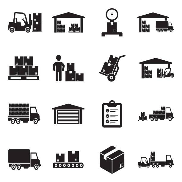 stockillustraties, clipart, cartoons en iconen met de pictogrammen van het magazijn. zwart plat design. vectorillustratie. - opslagruimte