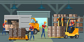 Warehouse indoors flat vector illustration. Factory storehouse workers cartoon characters. Handymen loading cardboard boxes. Distribution, logistics, shipment. Professional machinery, equipment