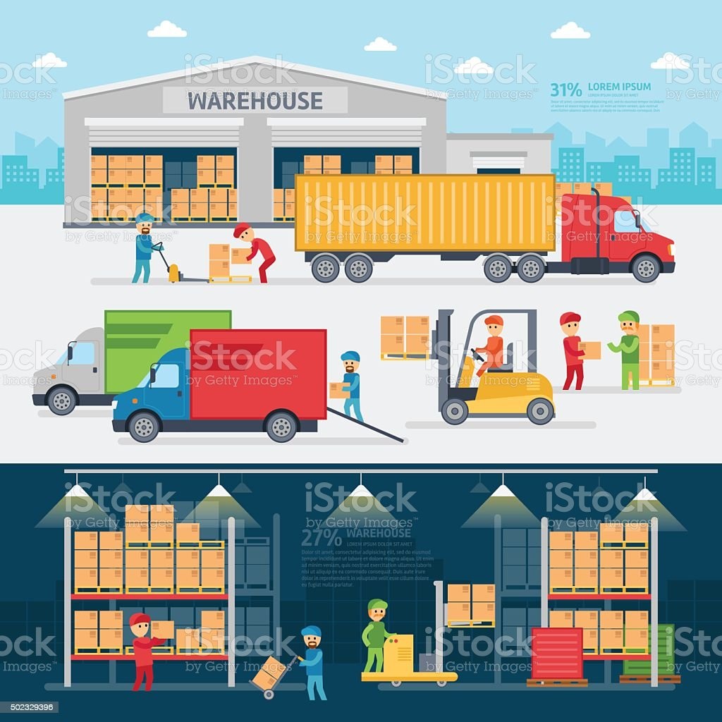 Warehouse infographic elements vector art illustration