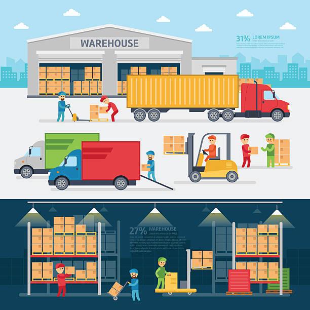 Warehouse infographic elements Warehouse infographic elements vector flat design. warehouse stock illustrations