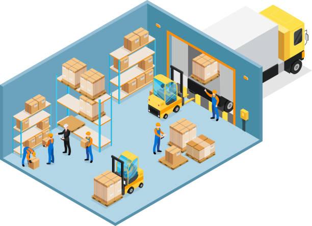ilustrações de stock, clip art, desenhos animados e ícones de warehouse inside - warehouse