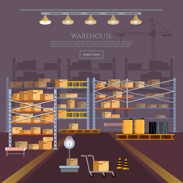 stockillustraties, clipart, cartoons en iconen met warehouse interior box on rack and warehouse building - warehouse worker