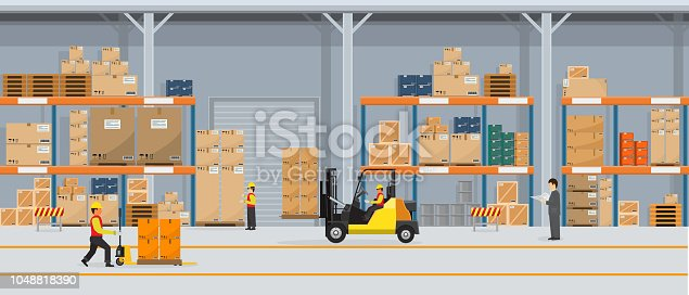 istock Warehouse Interior with Boxes On Rack And People Working. Flat vector and solid color style Logistic Delivery Service Concept illustration. 1048818390