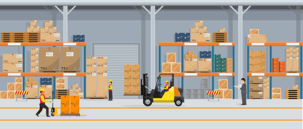 ilustrações de stock, clip art, desenhos animados e ícones de warehouse interior with boxes on rack and people working. flat vector and solid color style logistic delivery service concept illustration. - interior