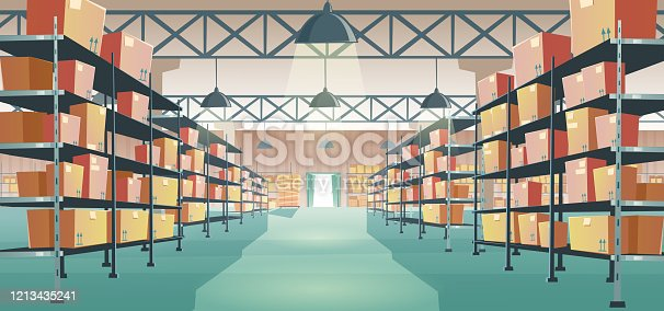 istock Warehouse interior with cardboard boxes on racks 1213435241
