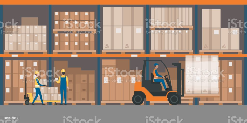 Warehouse interior with goods and pallet trucks vector art illustration