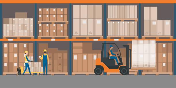 ambar iç mal ve palet kamyonları ile - warehouse stock illustrations