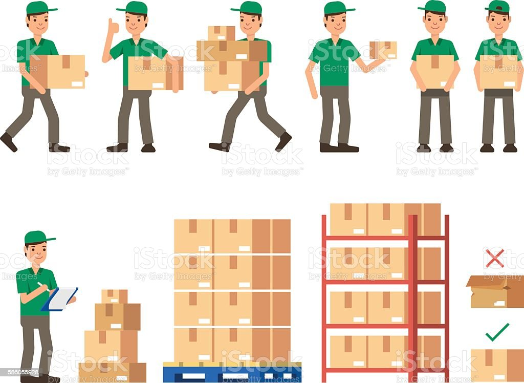 Warehouse Inventory delivery workers Modern flat style vector illustration vector art illustration