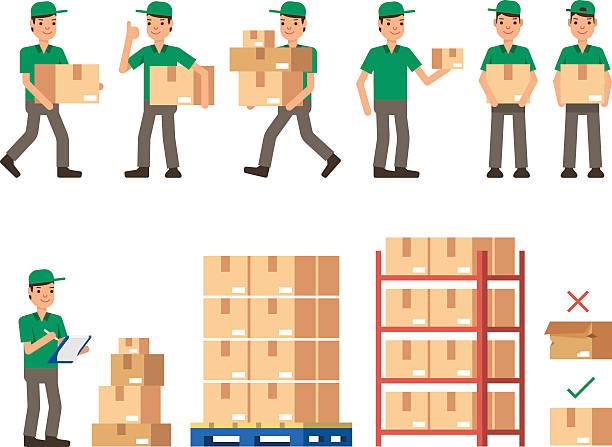 warehouse inventory delivery workers modern flat style vector illustration - kastenständer stock-grafiken, -clipart, -cartoons und -symbole