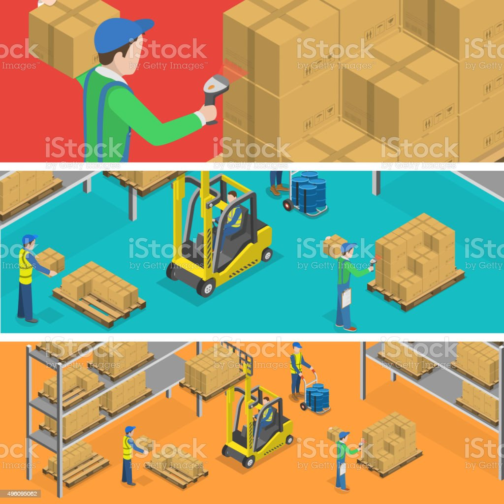 Warehouse isometric flat vector illustration. vector art illustration