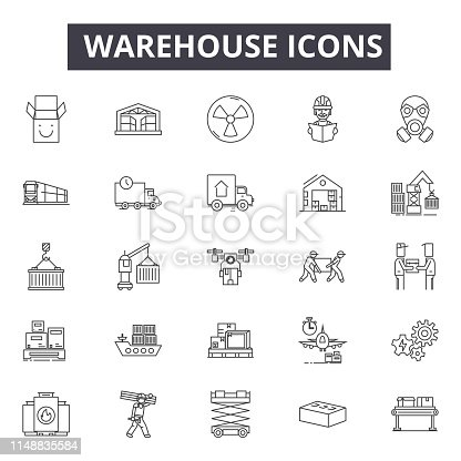 Warehouse line icons, signs, vector set, outline concept linear illustration