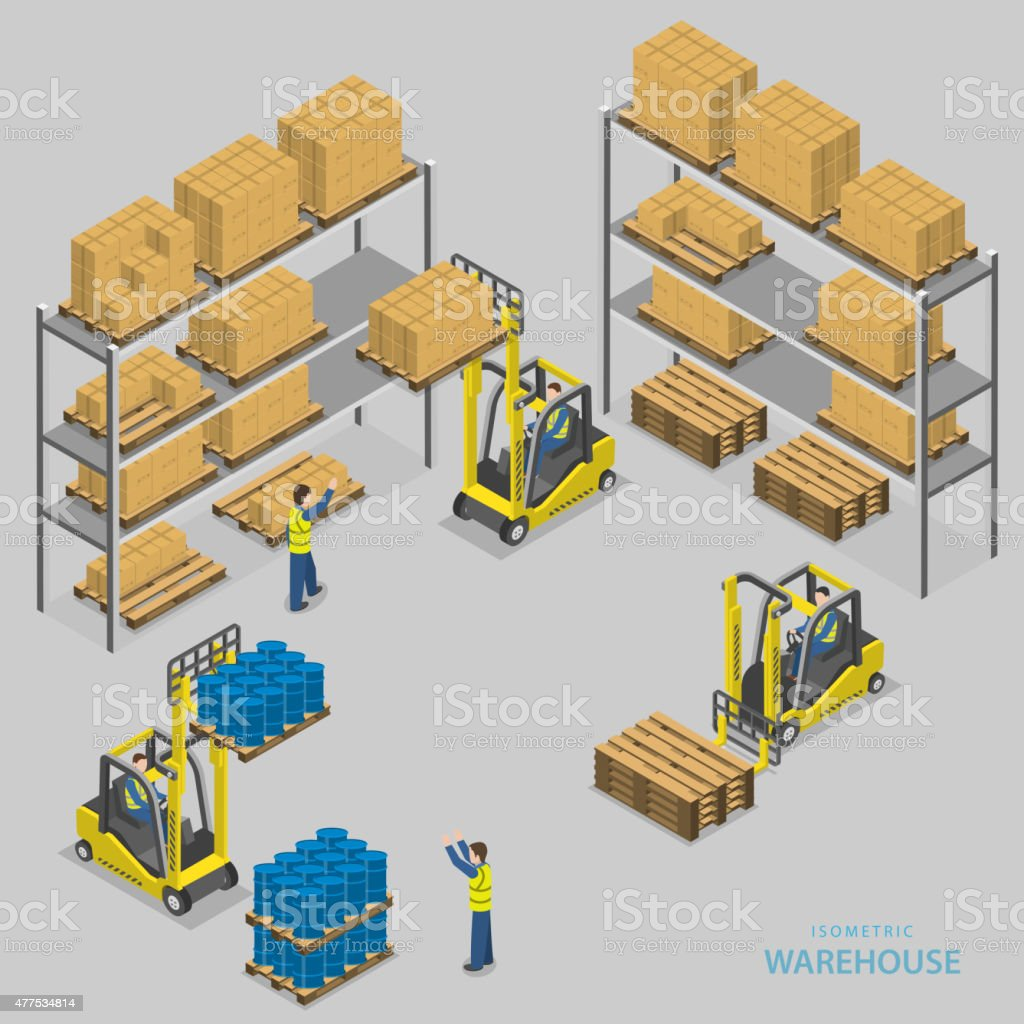 Warehouse loading isometric vector illustration. vector art illustration