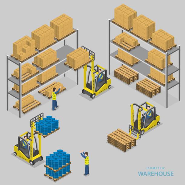 warehouse laden isometrische vektor-illustration. - frachtpaletten stock-grafiken, -clipart, -cartoons und -symbole