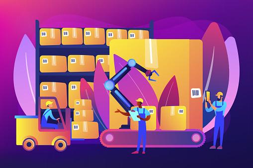 Warehouse logistics concept vector illustration.