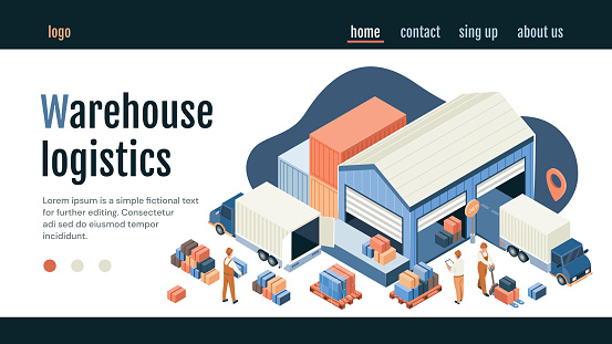 Warehouse logistics concept with distribution