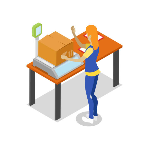 stockillustraties, clipart, cartoons en iconen met magazijn logistiek isometrische 3d pictogram - warehouse worker