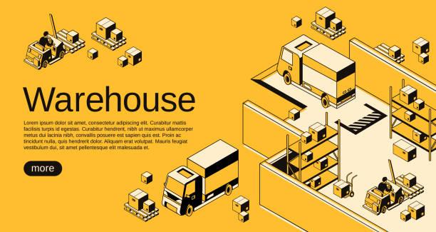 lager-logistik-vektor-halbton-illustration - frachtpaletten stock-grafiken, -clipart, -cartoons und -symbole