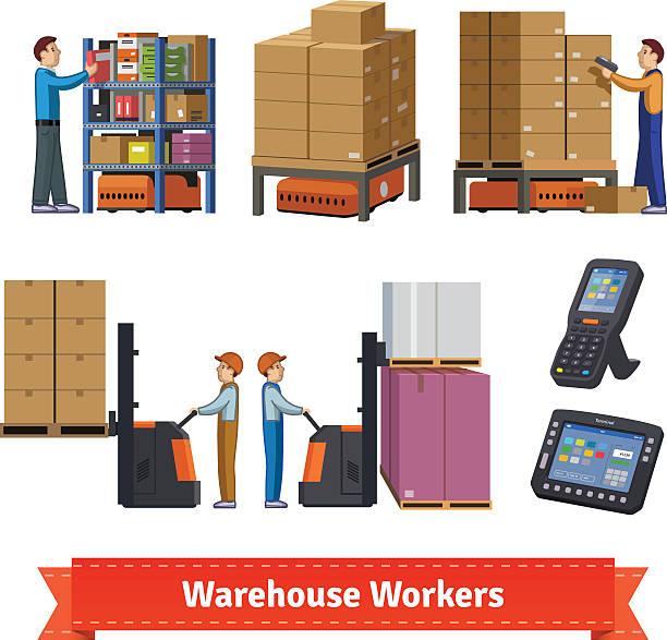 warehouse operations, die arbeitnehmer und roboter - kastenständer stock-grafiken, -clipart, -cartoons und -symbole