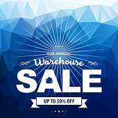 Vector of Warehouse Sale banner with blue color background. EPS ai 10 file format.