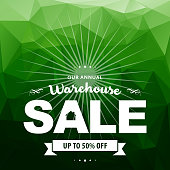 Vector of Warehouse Sale banner with green color background. EPS ai 10 file format.