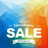 Vector of Warehouse Sale banner with colorful background. EPS ai 10 file format.