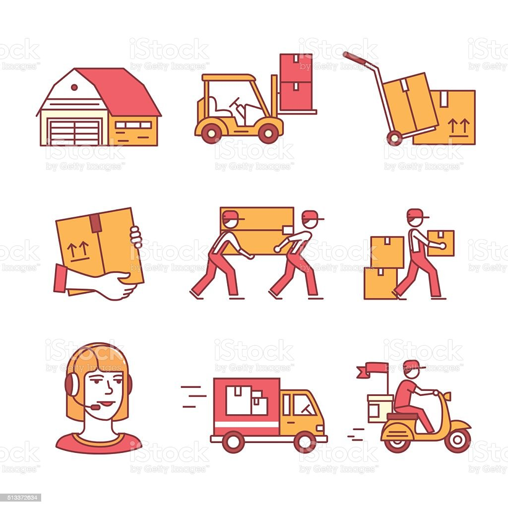 Warehouse, services and delivery transportation vector art illustration