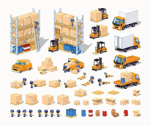 warehouse. satz von objekten - frachtpaletten stock-grafiken, -clipart, -cartoons und -symbole