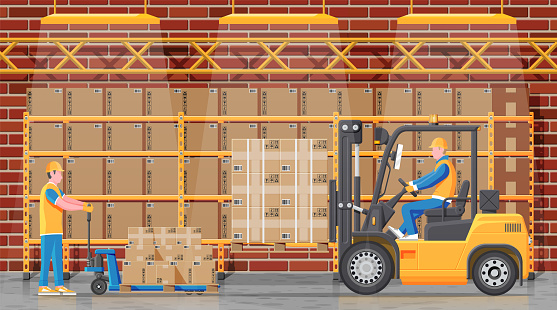 Warehouse shelves with boxes and mover