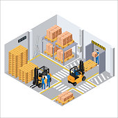 Working process in the warehouse, loaders and pallets with boxes, employees perform their duties, marking on the floor
