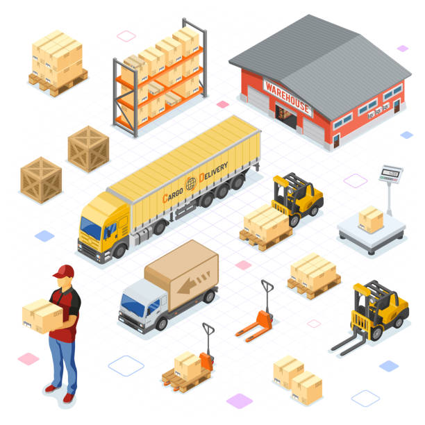 warehouse storage and delivery isometric icons set - warehouse stock illustrations