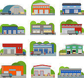 Warehouse storehouse depot storage facilities logistic flat style buildings vector illustration isolated on white. Storage factory industry flat vector illustration.