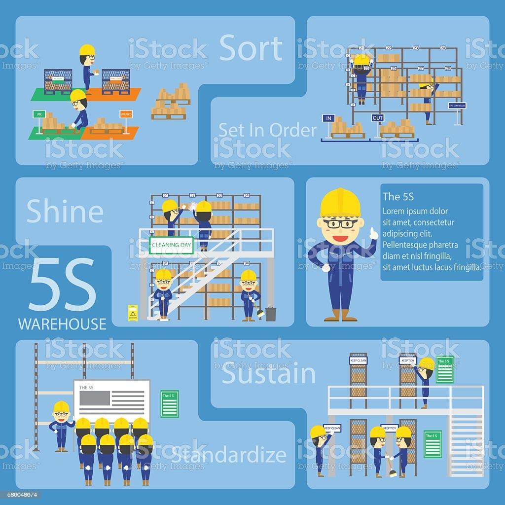 Warehouse Teamwork Cartoon With The 5S Activities ベクターアートイラスト