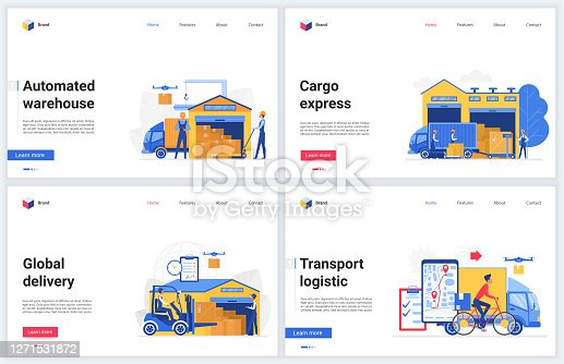 Warehouse technology vector illustrations. Cartoon flat warehousing company website interface design, tech mobile banner set with express automated delivery, packaging and loading, transport logistics