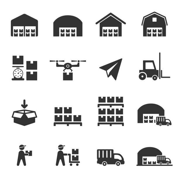 stockillustraties, clipart, cartoons en iconen met magazijn vervoer pictogram vector - pallet