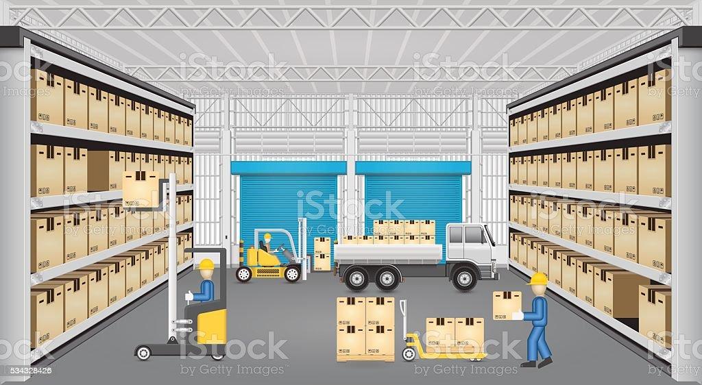 Warehouse Vector Design Vector Art Illustration