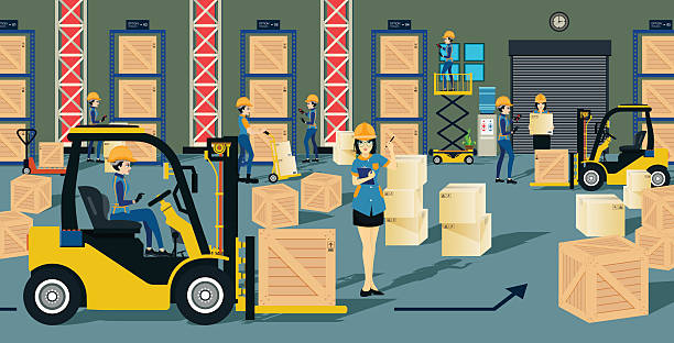 stockillustraties, clipart, cartoons en iconen met warehouse - warehouse worker