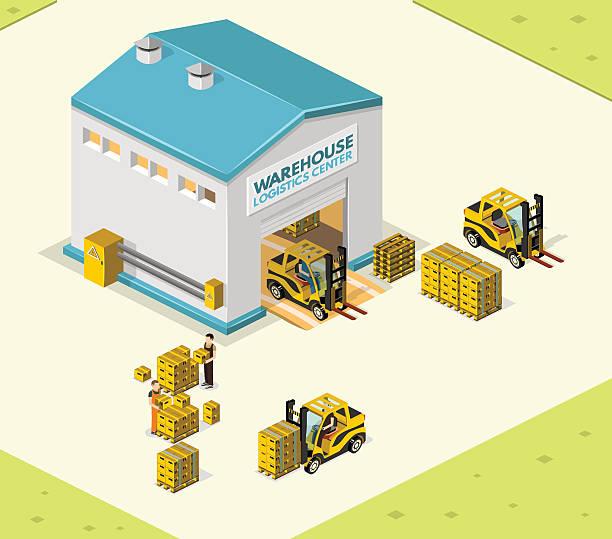 ilustraciones, imágenes clip art, dibujos animados e iconos de stock de ilustración vectorial de almacén en la forma de una vista isométrica - infografías de industria
