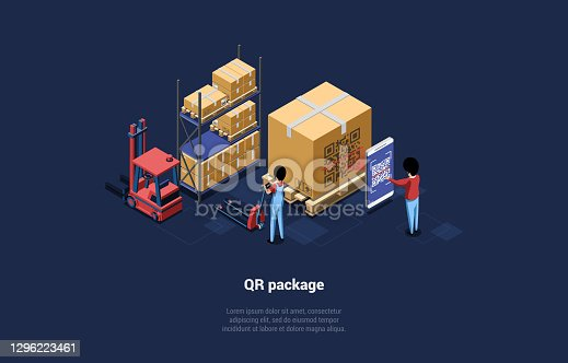 istock Warehouse With Big Boxes, QR Code Package. Dark Background With Writing. Vector Illustration In Cartoon 3D Style. Isometric Composition, Modern Technology Concept. Character Scanning With Mobilephone 1296223461