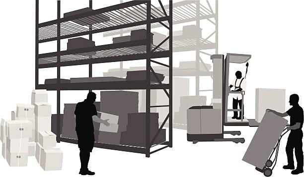 warehousework - wózek transportowy stock illustrations