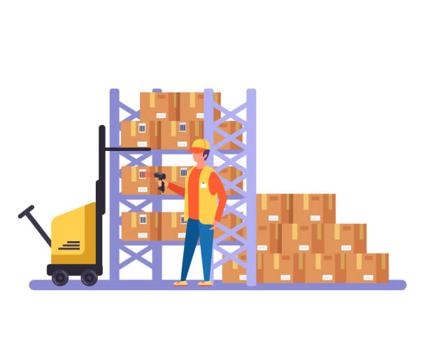 stockillustraties, clipart, cartoons en iconen met warehouse werknemer karakter scannen barcode kartonnen dozen. vector design grafische platte cartoon geïsoleerde illustratie - warehouse worker